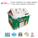 Haus-Form-Einsparung-Geld-Zinn-Kasten mit Weihnachtsart (I001-V2)