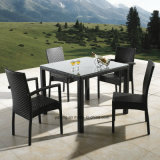 Top Selling Outdoor Aluminium PE-Rattan Furniture Stackable Chair & Knockdown Table Restaurant Set Square Table (YT182)