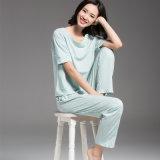 Vestito dai pigiami dei manicotti di Short di estate del vestito degli indumenti da notte del cotone del ringrosso delle donne