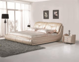 Кровать с одной спальней Мебель мягкая кровать из натуральной кожи
