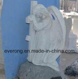 Стороны резного ребенка просачивание Angel мрамора гранита и Монумента Tombstone точильного камня