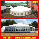 サテンファブリックLingingおよびカーテンは販売のためのDecagonのおおいのテントを飾った