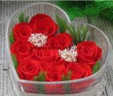 Romántico lujo plástico acrílico transparente Caja flor rosa