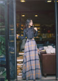 Одежда женщины на заводе зимой осенью долго Клетчатую юбку моды