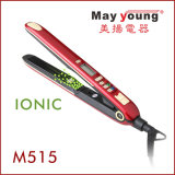 Hierro plano de la queratina del Mch del calentador de los iones del pelo del pelo negativo al por mayor de la enderezadora