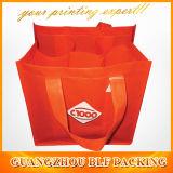 赤いカスタムプリント6びんのワイン袋(BLF-NW134)