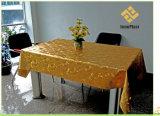 Het In reliëf gemaakte Tafelkleed van pvc Goud met de Steun van de Stof