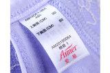 El borde de la etiqueta tejida de satén con impresión en negro y de la confección de prendas de vestir de etiqueta de lavado cuidado