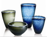 Large bouche Vase en verre bleu pour décoration maison avec fleur