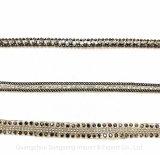 Acessórios de vestuário, acessórios de moda, cordão de cobre de cobre da corrente quente Diamante de vidro da cadeia de perfuração e de fita a quente, para correspondência de vestuário