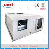 O condicionador de ar da unidade embalada no último piso com o ciclo económico