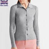 Grijze breit Geribbeld van vrouwen Sweater van de Cardigan van de Manier van de Kokers van de Katoenen Kraag van het Mengsel de Overhemd Geïnspireerdee Lange Slanke Geschikte voor Dames