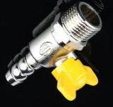Válvula de gás de bronze de seda dobro da esfera da linha masculina