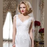 Weinlese-Satin-Schutzkappe Sleeves Tasten-Nixe-Hochzeits-Kleid mit Applique