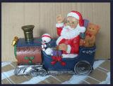 Polyresin Santa Claus Holding Candle Holder Prenda de Natal