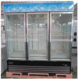 1500L Trois porte coulissante en position verticale du refroidisseur d'affichage avec refroidissement assisté de ventilateur