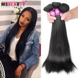 Выдвижение прямых волос оптовых естественных черных бразильских человеческих волос шелковистое