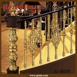 Hotel Gold Color Curved Stair Railing Balaustrada de alumínio (SJ-B038)