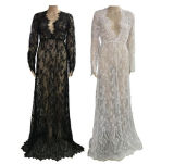 Eaby Hot Sale Branco Sexy Deep V-Neck Long Sleeve Lace Elegante vestido longo (17010)