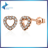 L'oro di pietra della CZ Rosa del piccolo cuore ha placcato 925 orecchini della vite prigioniera dell'argento sterlina