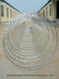 Концертина свертывает спиралью тип колючую проволоку бритвы