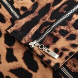 Zipper Cotton Short Leopard Moto Jacket Bombardeiro Womens