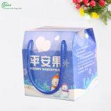 Manzanas regalo personalizado impreso de Navidad caja de empaquetado con la cuerda de la manija (KG-PX080)