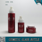 Casquettes en acrylique Bouteilles de verre cosmétiques et biscuits en verre cosmétique Pulvérisation couleur rouge