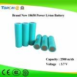 Batteria ricaricabile 3.7V 18650 2500mAh dello ione del litio di fabbricazione di Yangzhou