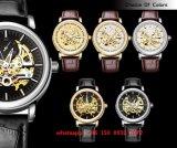 Reloj de los hombres automáticos populares de gama alta del OEM con la correa de cuero genuina Fs517