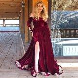 Manga Larga y elegante de una línea de la Borgoña vestidos de fiesta 2020 de la Puntilla del hombro del lado apliques de dividir el terciopelo Plus Size trajes de fiesta