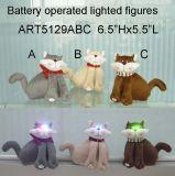 Gatto simile a pelliccia sveglio con illuminazione Eyes-3asst. Indicatori luminosi di natale
