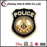 Die Casting policía Badge chapados en oro de la etiqueta prendedores