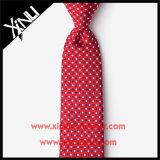 O jacquard de seda o vermelho magro tecido amarra a forma para homens