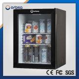 Hotel 30 litros de porta de vidro mini bar de refrigerador