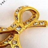 Colgante plateado oro cristalino dulce del collar del acero inoxidable del Bowknot de la muchacha