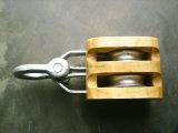 Nosotros tipo bloque de polea de madera de la polea acanalada doble con el gancho de leva