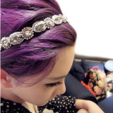 De hete Hoofdband Hairwear van Hairband van de Parels van het Bergkristal van het Kristal van de Vrouwen van de Stijl van de Manier Retro Grijze