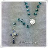 Il lato d'argento blu-chiaro borda il rosario con la croce blu-chiaro e la parte connettente (IO-cr389)