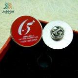 Disco de prata metálico personalizado crachá do esmalte com logotipo impresso