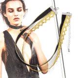 금 색깔 크로셰 뜨개질 숨막히게 하는 것 목걸이를 가진 최신 최신유행 겹켜 Handmade 까만 우단