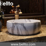 Salle de bains en marbre navire évier en pierre a fait de la céramique (C-1061)
