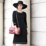 Vestido da caxemira das mulheres com garganta redonda (13brdw063)