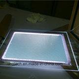 Publicidad acrílico de cristal interno que anuncia a caixa leve magnética do diodo emissor de luz