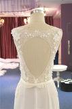 Chiffon- Spitze, die eine Zeile Strand-Hochzeits-Kleid bördelt
