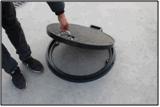 Coperchio di botola chiudibile a chiave di En124 A15 FRP D600 con il blocco per grafici