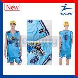 Usura su ordinazione di sport delle uniformi blu di pallacanestro di sublimazione