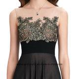 Frauen-Spitzeapplique-Sleeveless elegantes Abend-Partei-Abschlussball-Kleid