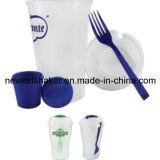 BPAはフォークおよびふたが付いているプラスチックサラダびんサラダコップを放す