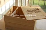Rectángulo de madera exquisito de desplazamiento clásico del vino del diseño en talla de encargo